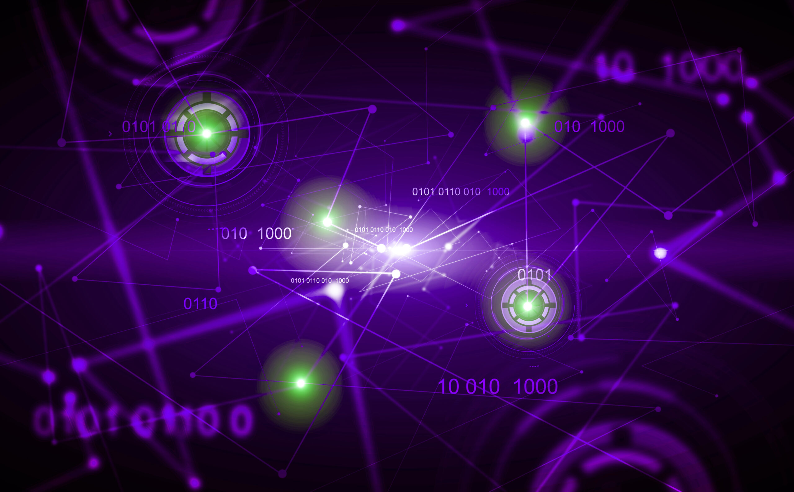 Abstract green digital background with HUD